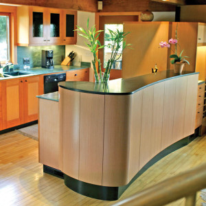 Kitchen with Radius Bending Plywood by PureBoond